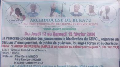 Photo of Catholique : Trois jours de prière de guérison organisés à la cathédrale ND Bukavu